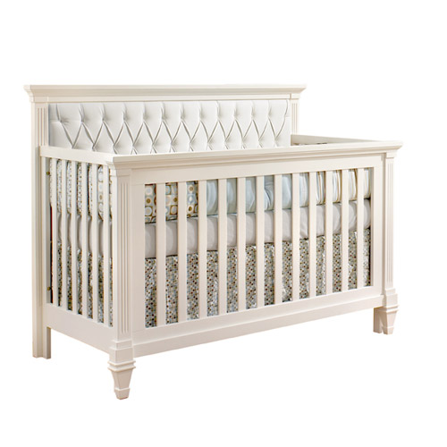 white panel on white crib for babys room