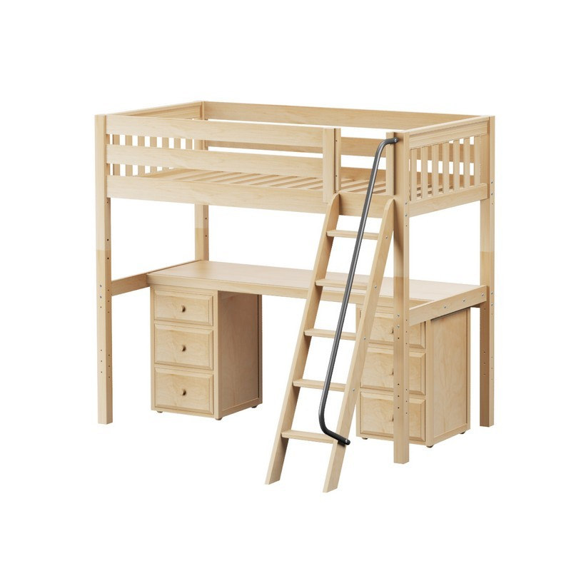 Maxtrix High Loft W Angle Ladder Long Desk 2 X 3 1 Drawer Dresser